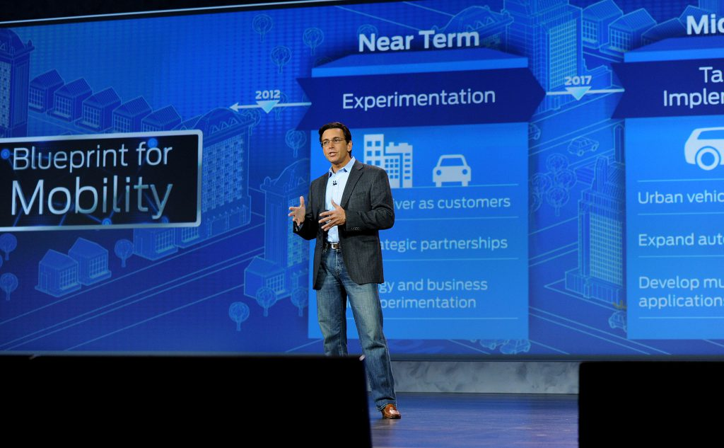 Las Vegas, NV., January 6, 2015 -- Mark Fields, President and CEO, Ford Motor Company, delivers the opening keynote address at the 2015 International CES. Photo by: Sam VarnHagen/Ford